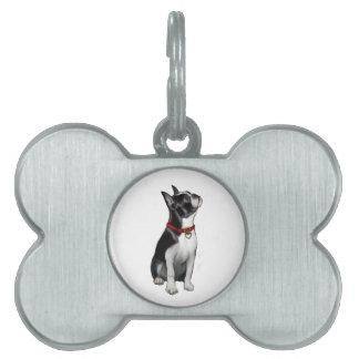 Boston Terrier a - mirando para arriba Placas De Nombre De Mascota