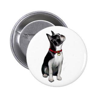 Boston Terrier (a) - mirando para arriba Pin Redondo De 2 Pulgadas