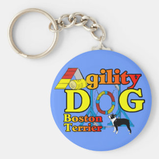 Boston Terrier Agility Gifts Basic Round Button Keychain