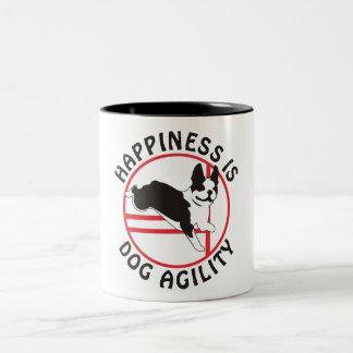 Boston Terrier Agility Happiness Two-Tone Coffee Mug