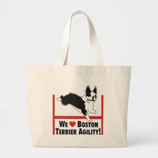 Boston Terrier Agility Large Tote Bag