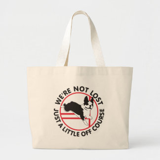 Boston Terrier Agility Off Course Large Tote Bag