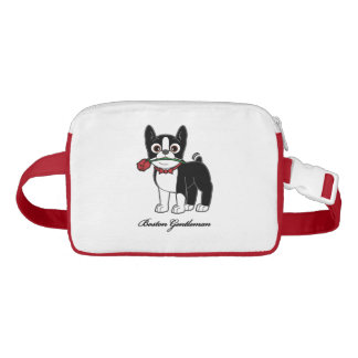 Boston Terrier American Gentleman with Rose Fanny Pack