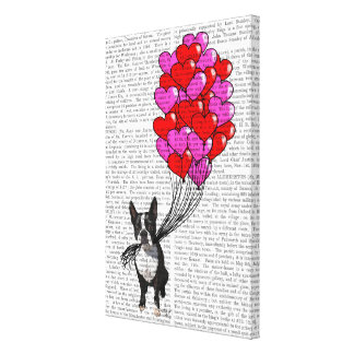 Boston Terrier And Balloons Canvas Print