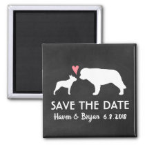 Boston Terrier and Saint Bernard Save the Date Magnet