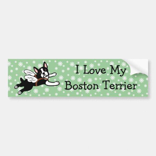 Boston Terrier Angel Cartoon Snowflakes Bumper Sticker