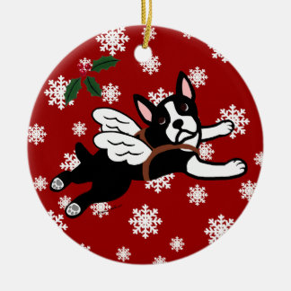 Boston Terrier Angel Cartoon Snowflakes Ceramic Ornament