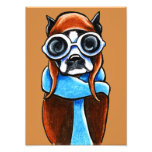 Boston Terrier Aviator Ink Pencil Drawing Photo Art