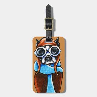 Boston Terrier Aviator Luggage Tag