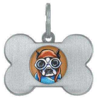 Boston Terrier Aviator Pet ID Tag