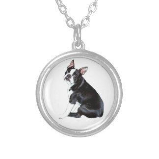 Boston Terrier (B) Round Pendant Necklace