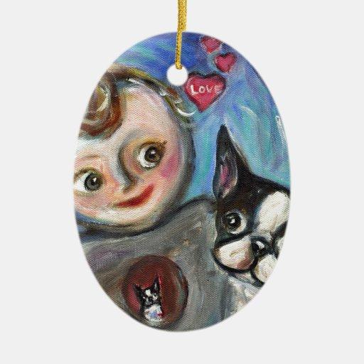 Boston Terrier baby love hearts Ceramic Ornament