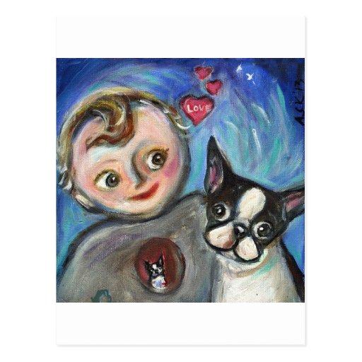 Boston Terrier baby love hearts Postcard