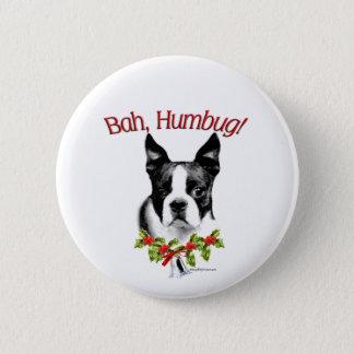 Boston Terrier Bah Humbug Pinback Button