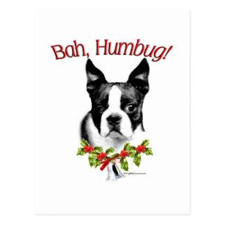Boston Terrier Bah Humbug Postcard
