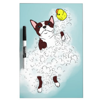 Boston Terrier Bath Dry Erase Board