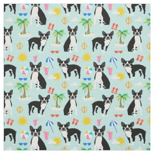 Boston Terrier Beach Fabric Summer Dog Fabric Zazzle Com