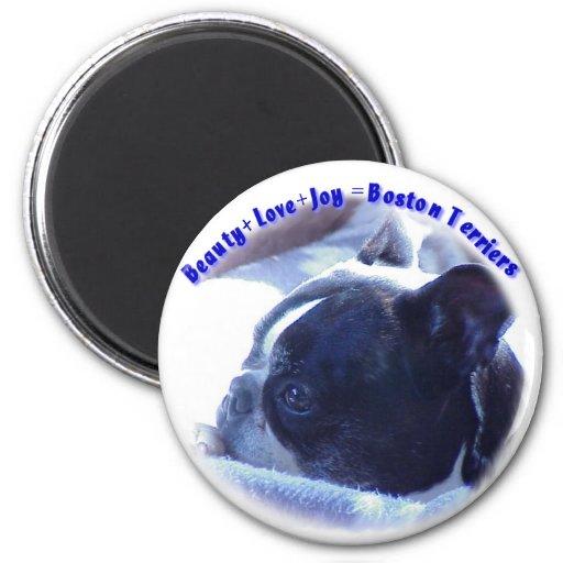 Boston Terrier:  Beauty, Love, Joy Refrigerator Magnet