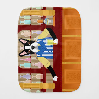 Boston Terrier Beer Pub Baby Burp Cloth