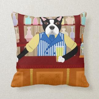 Boston Terrier Beer Pub Throw Pillow