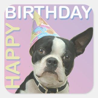 Boston Terrier Birthday Sticker
