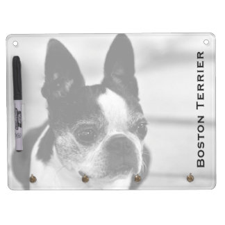 Boston Terrier Black and White Dry Erase Board With Keychain Holder