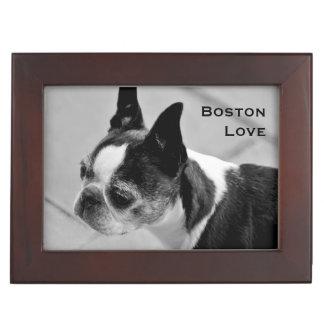 Boston Terrier blanco y negro Cajas De Recuerdos