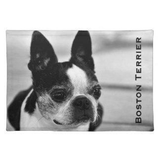 Boston Terrier blanco y negro Mantel Individual