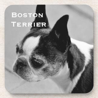 Boston Terrier blanco y negro Posavaso