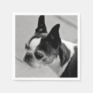 Boston Terrier blanco y negro Servilleta De Papel