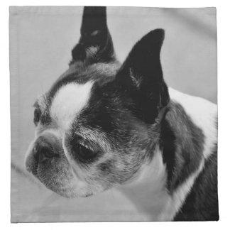 Boston Terrier blanco y negro Servilletas Imprimidas