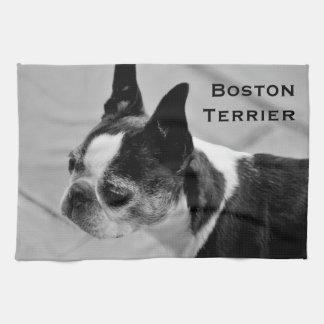 Boston Terrier blanco y negro Toallas De Cocina