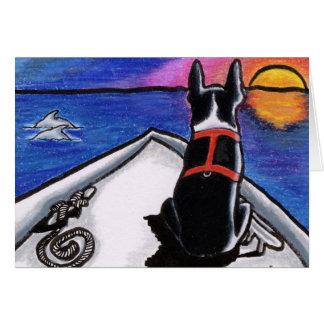 Boston Terrier Boat Sunset Custom Card