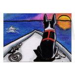 Boston Terrier Boat Sunset Custom Greeting Card