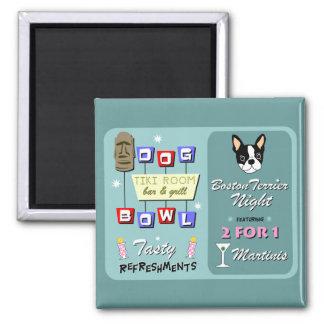 Boston Terrier Bowling Tiki Night 2 Inch Square Magnet