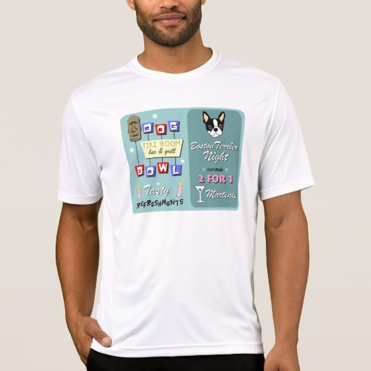 Boston Terrier Bowling Tiki Night T-Shirt