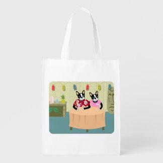 Boston Terrier Boy & Girl Reusable Grocery Bag
