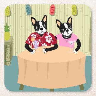 Boston Terrier Boy & Girl Square Paper Coaster