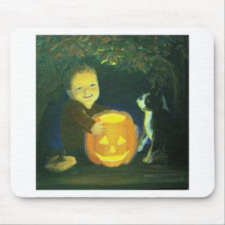 Boston Terrier & boy on Halloween Pumpkin Carving Mousepad