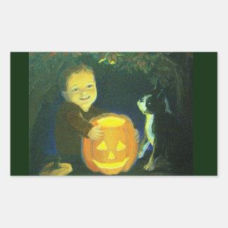 Boston Terrier & boy on Halloween Pumpkin Carving Rectangular Sticker