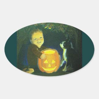 Boston Terrier & boy on Halloween Pumpkin Carving Oval Sticker