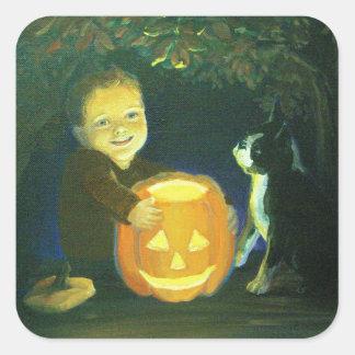 Boston Terrier & boy on Halloween Pumpkin Carving Square Sticker