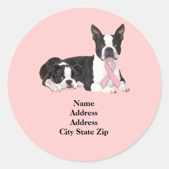 Boston Terrier Breast Cancer Address Label