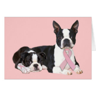 Boston Terrier Breast Cancer Greeting Card