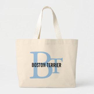 Boston Terrier Breed Monogram Design Tote Bags