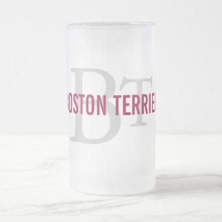 Boston Terrier Breed Monogram Design Frosted Glass Beer Mug