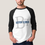 Boston Terrier Breed Monogram Design T-Shirt