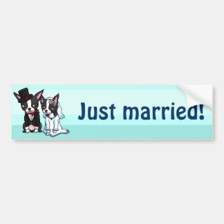 Boston Terrier Bride and Groom Car Bumper Sticker