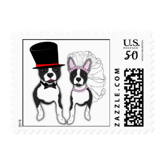 Boston Terrier Bride And Groom Couple Postage