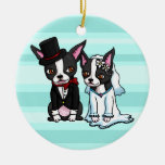 Boston Terrier Bride and Groom Double-Sided Ceramic Round Christmas Ornament